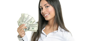 Girl showing payday loan